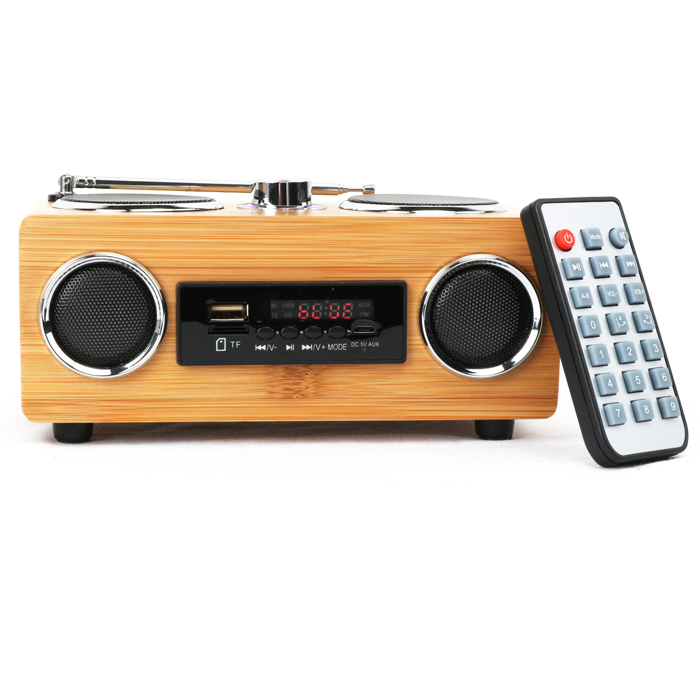 Лидер продаж в Индии, уникальный многофункциональный большой беспроводной бас, ретро-радио, бамбуковый беспроводной динамик для ПК и ноутбука