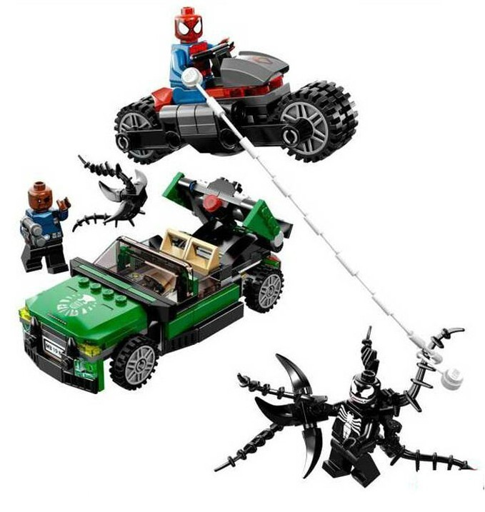 UKLego Marvel Super Heroes Avengers Ultimate Spiderman Cycle Chase Figures Building Blocks Toy Set.