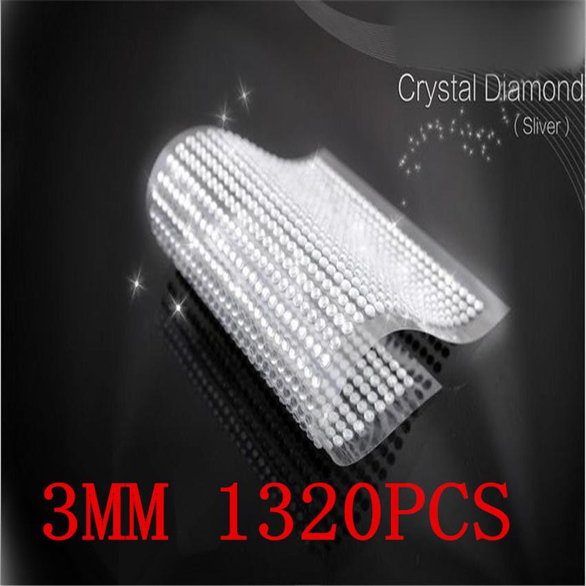 3 мм 1320 шт. / комплект серебро горный хрусталь в телефон персонализированные кристалл наклейки самоклеющиеся лэптоп скины наклейки
