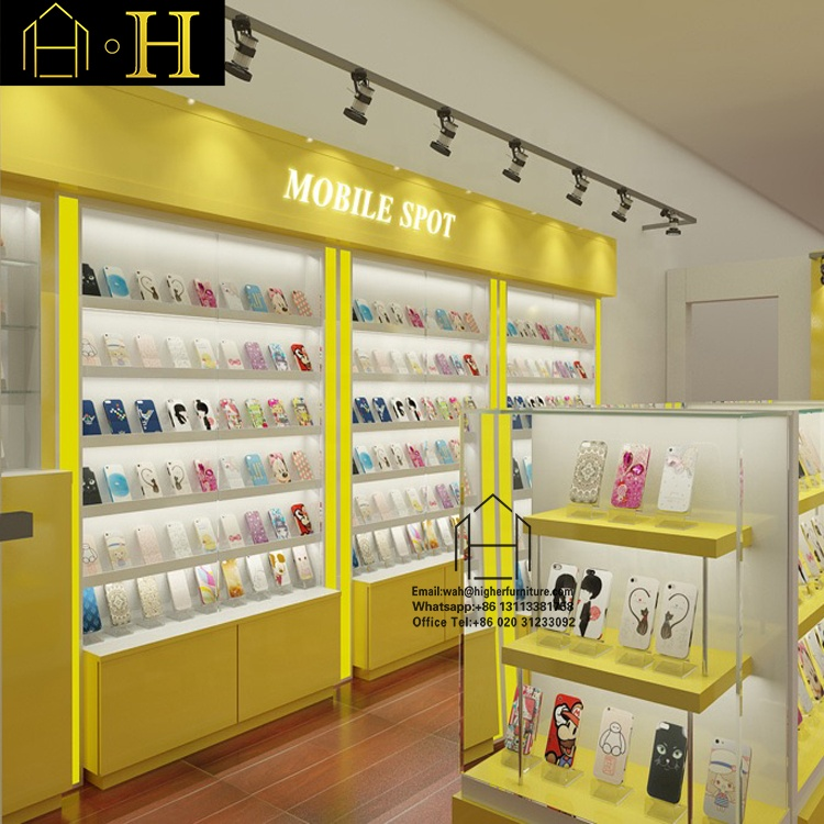 Modern Phone accessory display MDF mobile phone display shelf