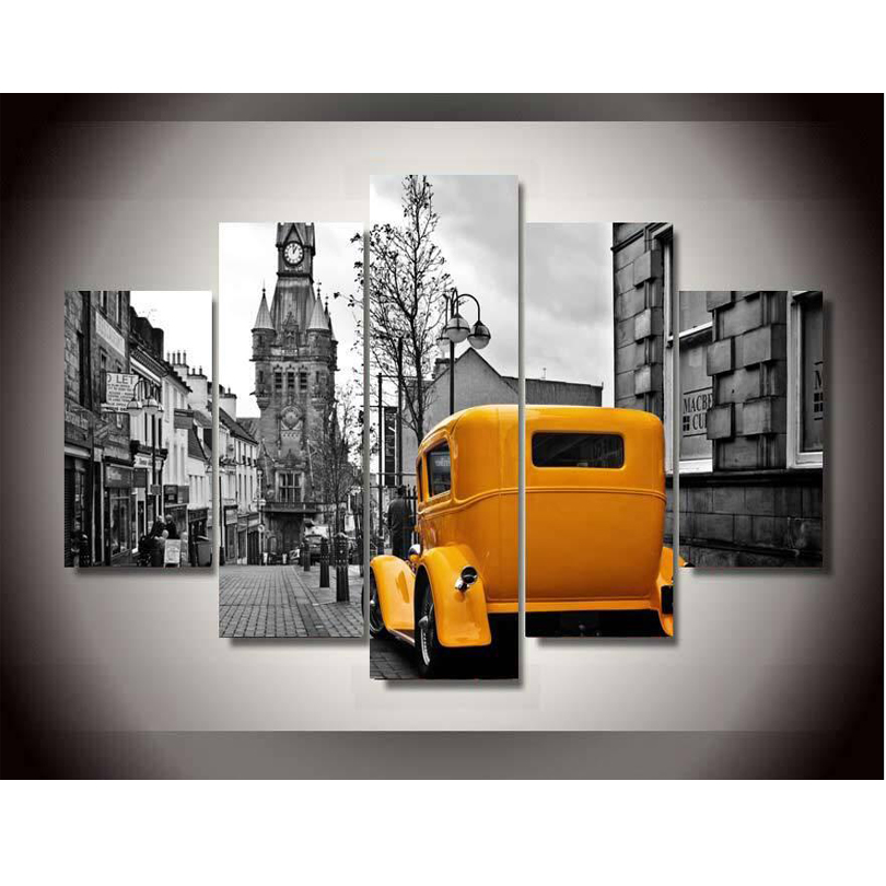New York Taxi Street City Canvas Wall Art Picture Print Va: Yellow Taxi Painting Promotion-Shop For Promotional Yellow