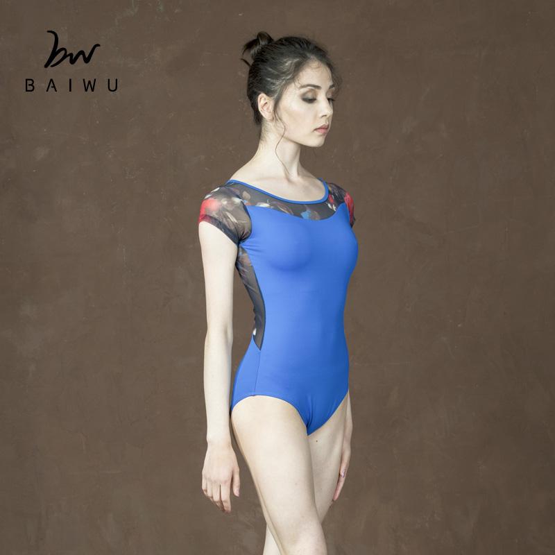 Высококачественное танцевальное трико Baiwu 117141041 года, балетное трико с цветочной сеткой и рукавом до локтя  <strong><span style=