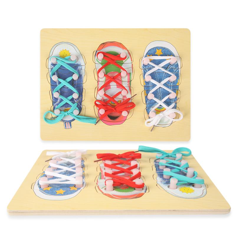 Lace A Wooden Shoe Toy