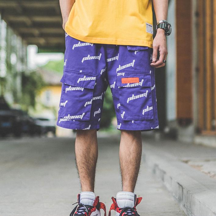 Повседневные мужские шорты-карго в стиле хип-хоп с принтом букв и большими передними карманами