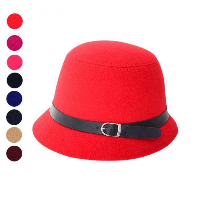 Donna Lady Cloche Cappello Cap Bowler Feltro di lana Round Vintage Secchio  regolabile Fedoras ALS88 35db75c3e872
