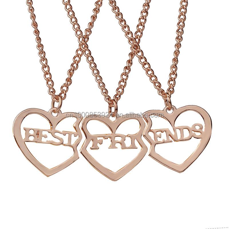 3 قطعة المجموعة الصداقة هدية للبنات على شكل قلب الجوف إلكتروني أفضل أصدقاء للأبد Bff قلادة القلائد ل 3 مجوهرات الأزياء Buy أفضل أصدقاء للأبد قلادة الصداقة هدية للبنات Bff