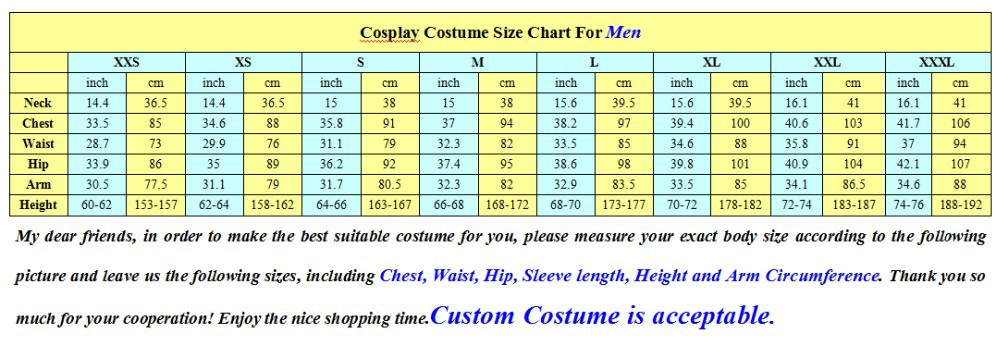cosplay size chart for men