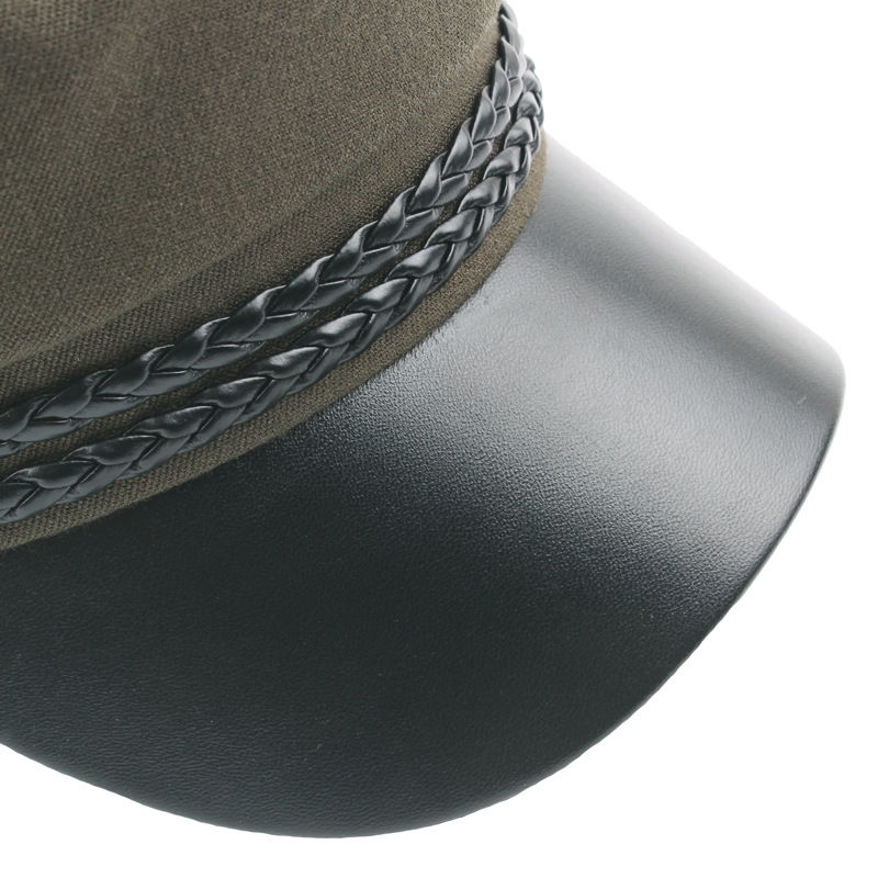 Spring New Fashion Vintage Ladies Flat Top Military Cap with Leather Brim