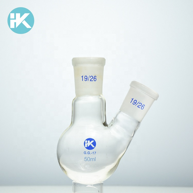 Huke customized Chemglass Glass Round 1000ml Heavy Wall 2 Neck Bottom Boiling Flask