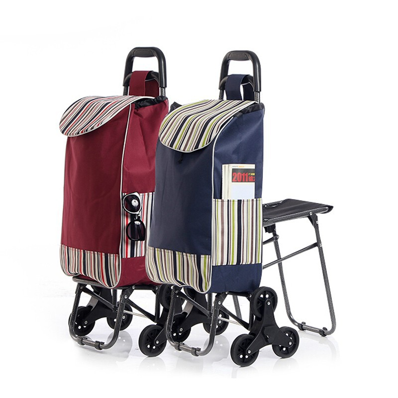 Wholesale customizable logo New style Best Quality Folding Shopping Cart with seat shopping trolley bag