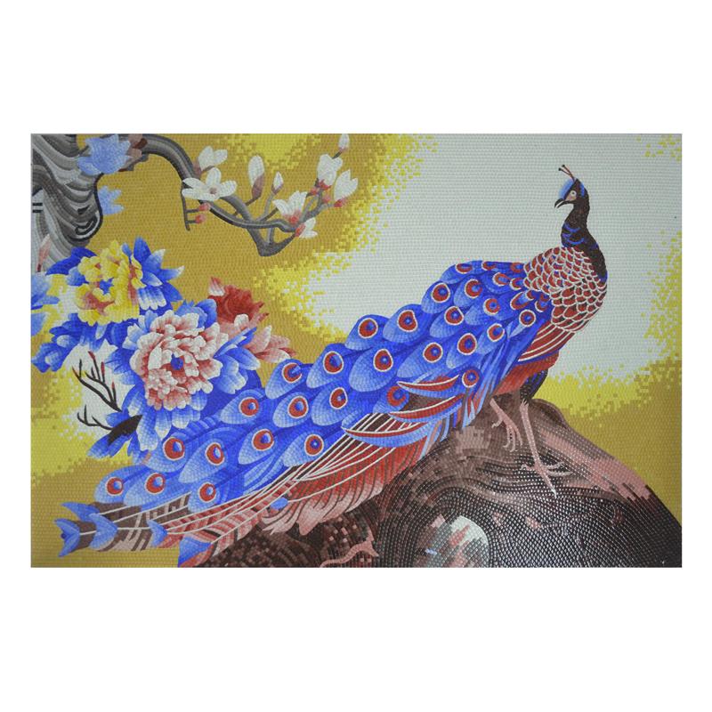 Factory direct popular item glass mosaic tile hand cut peacock mosaic tile pattern mural design for wall mosaic art decor