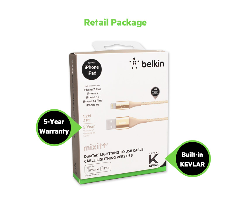 Belkin MIXIT Duratek Kevlar Lightning to USB Cable by MFi Certified Sync  Charge 2 4A for iPhone Xs Max XR 8 7 Plus F8J207bt