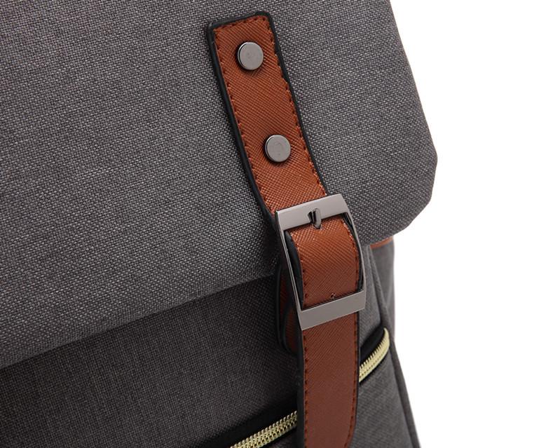 2020 canvas School College 15 inch blank Notebook bag outdoor Vintage Grey laptop canvas backpack for Women Men