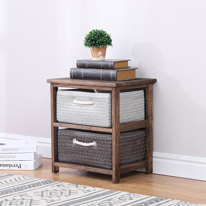 Антикварная твердая древесина, ручная Плетеная соломенная корзина для хранения бокового шкафа