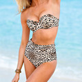 2016 Sexy Leopard Printing Swim Suits Without Halter Swimwear Fashion High Waist Bathing Suits maillots de