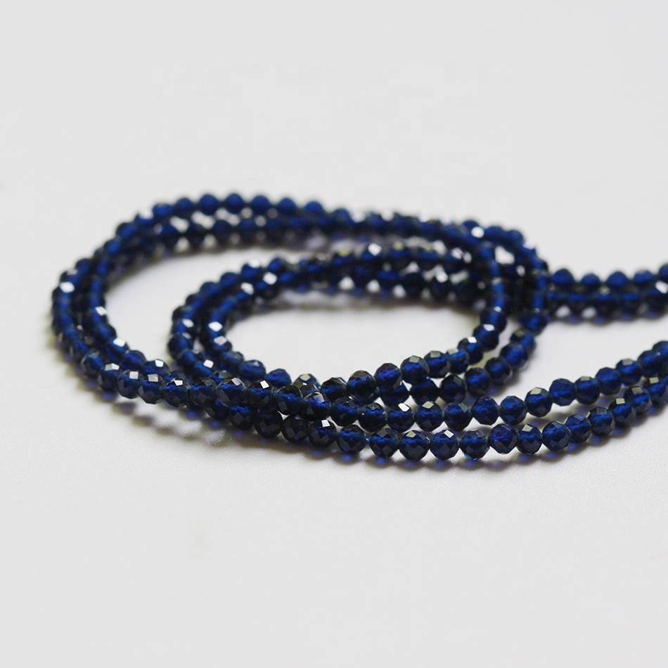Wholesale 2mm Faceted Blue Glass Crystal Beads Round Tiny Loose Beads for DIY Necklace Bracelet Making(1H57)