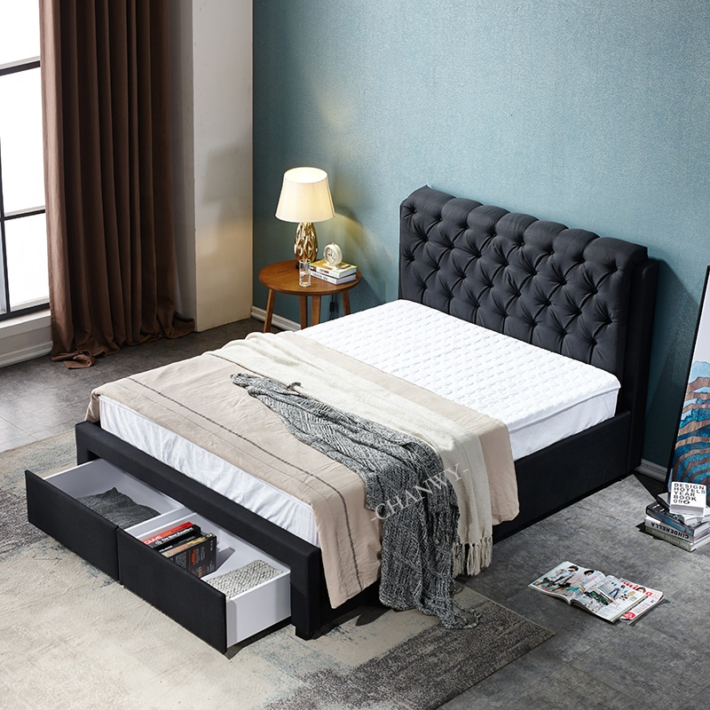 luxury modern double bed designs and bed foot two drawers from furniture factory black fabric with button