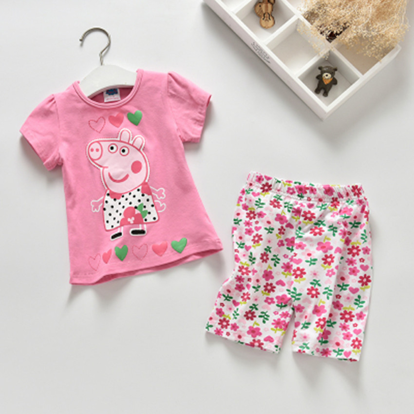 peppa pig New 2016 Quality 100% Cotton Baby Kids Girls Summer 2pcs Children Suits Clothing Clothes Short Sleeve Baby Girl Sets