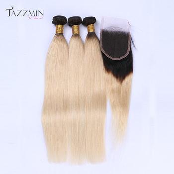Human straight hair with closure,top lace 1b 613 closure,unprocessed brazilian hair closure