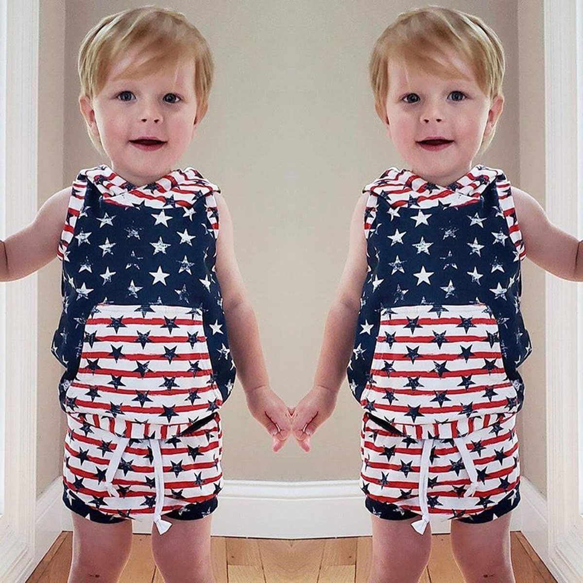 UK Kid Baby Girl July 4th Independence Day Top+Denim Shorts Outfits Clothes 2PCS