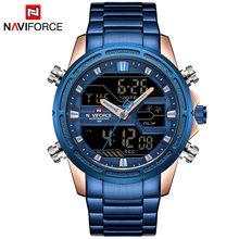 NAVIFORCE Мужские кварцевые часы, светодиодный, цифровые, мужские, синие, полностью стальные, военные, наручные часы, мужские, водонепроницаемые ...(China)