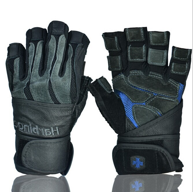 Exercise Gloves Types: Wrist Type Fitness Gloves Wear Leather Weights Man