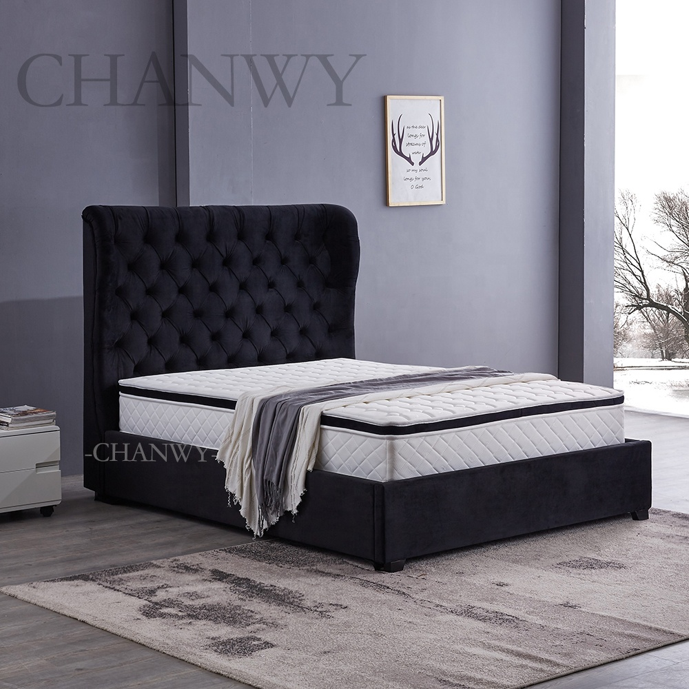 new design bedroom furniture black velvet bed fabric luxurious big headboard bed frame unique shape button tufted double size