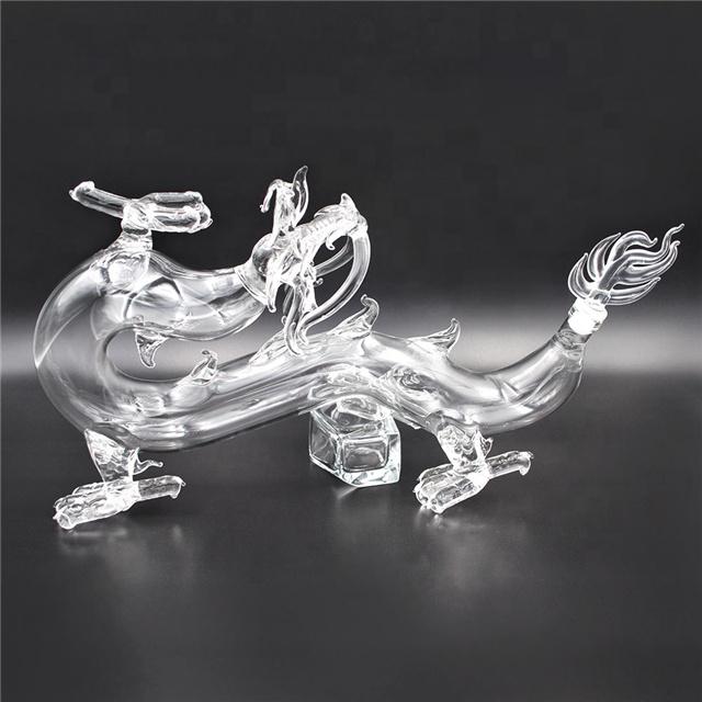 High quality cheap 750ml dragon shape glass liquor bottle