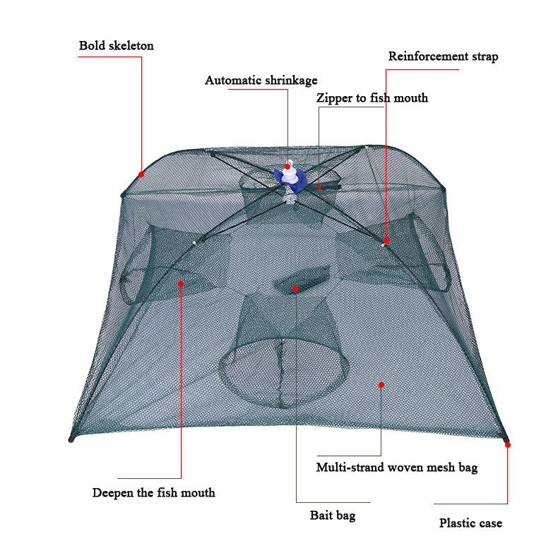 8 Holes Foldable Fishing Net Automatic Shrimp Minnow Crab Baits Cast Mesh Trap