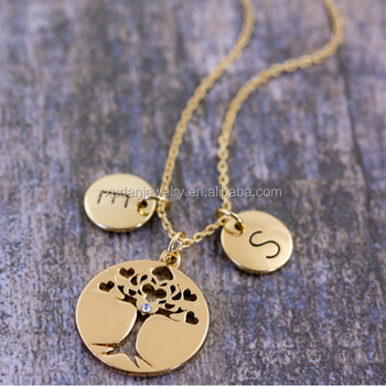 Personalised Gold Tree Of Life Pendant, Family Tree Necklace Jewelry