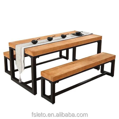 restaurant furniture wood dining table set table with bench custom solid wood table and bench with fast delivery