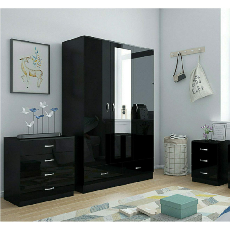 Black High Gloss Bedroom Furniture 3 Door Mirrored Soft Close Wardrobe Chest Bedside Buy High Gloss Bedroom Set High Gloss Bedroom Furniture Fancy Bedroom Furniture Sets Product On Alibaba Com