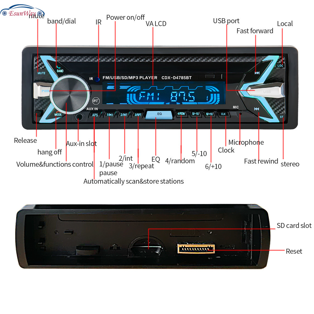 Съемная панель для автомобильного радио, 12 В, автомагнитола 1 din, стерео, аудио, MP3, FM-приемник, разъем ISO 4785