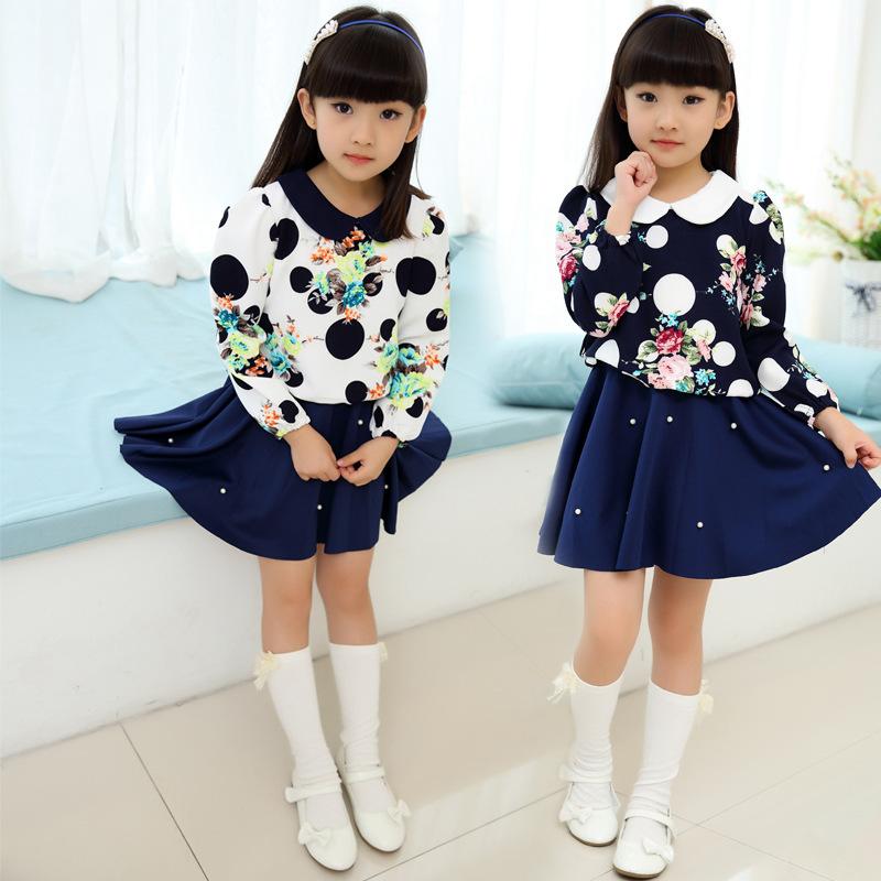 Baby Girl Dress 3-12 Age dots Long Sleeve Girls Party Tutu Dresses Kids Clothes Pearl Princess Girls Flower Dress 2016 Autumn