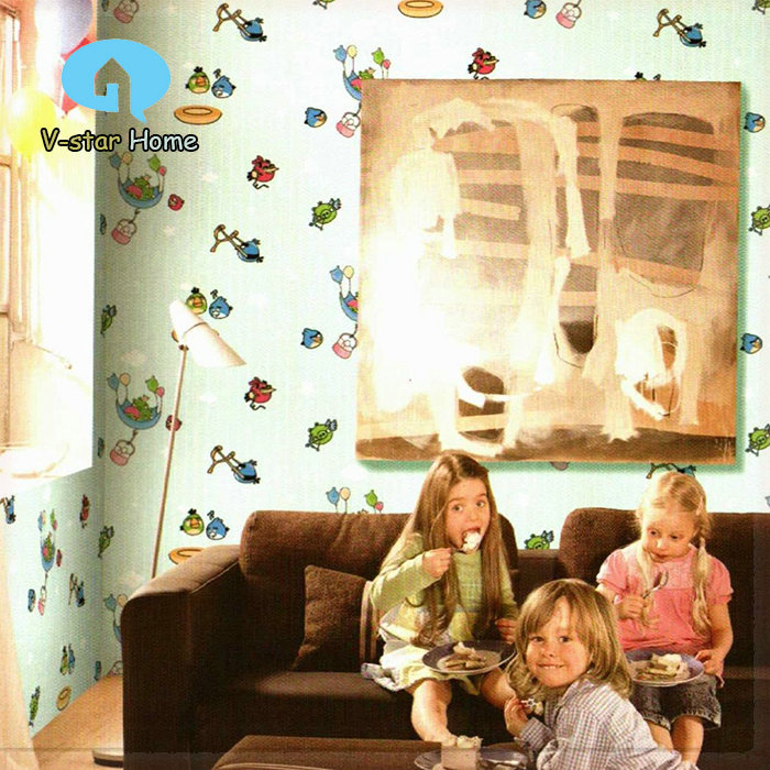 2015 new COZY kids room wallpaper for kids cartoon bird wall paper roll 10m all coverd home decor for walls papel de parede pape