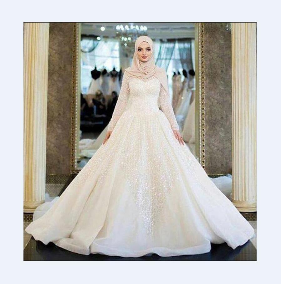 Gaun Pengantin Muslim Dress Mewah Arab Ukuran Besar Dengan Kerudung Buy Pengantin Muslim Pernikahan Gaun Product On Alibaba Com