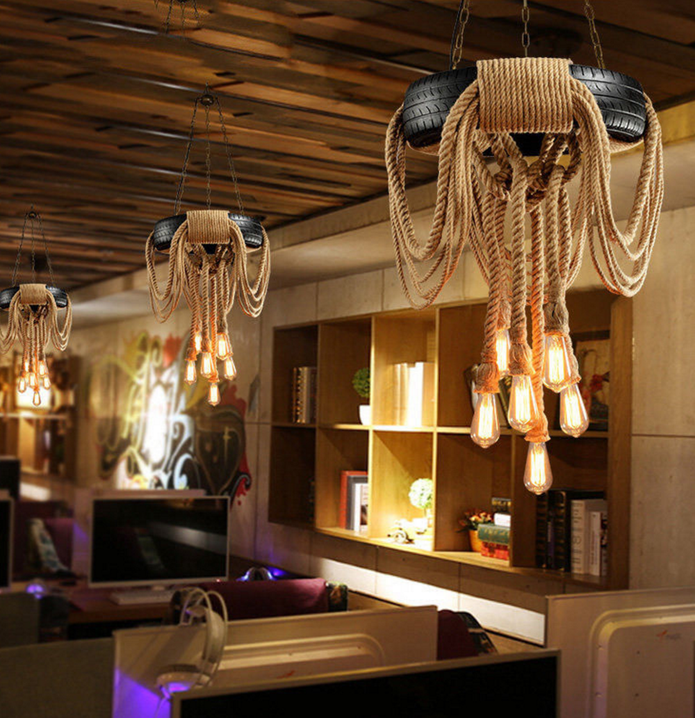 New Design Hemp Rope Lamp Vintage Retro Bulb Holder Wicker Pendant Lights With 4 10holders Buy Rope Light Pendant Lights Rope Light Product On Alibaba Com