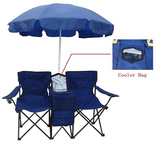 Portable Picnic Double Folding Chair With Umbrella And