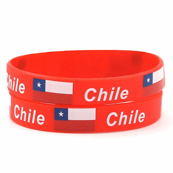 Chile Flag Sport Wristbands silicone rubber bracelet red glow in dark