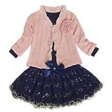 Meninas do bebê Casaco + T-shirt + Saia Vestido Tutu Partido Set Terno Roupas Cor de Rosa 3 pcs