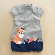 Y035 Retail 2015 New Girl Sweater Dress Patchwork Fox Girl Pullover Knitted Short Sleeve O Neck