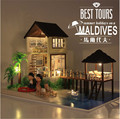 New large Woodendoll house miniature Maldives Cabin with 3D LED light Music Furniture Handmade Toys Gits