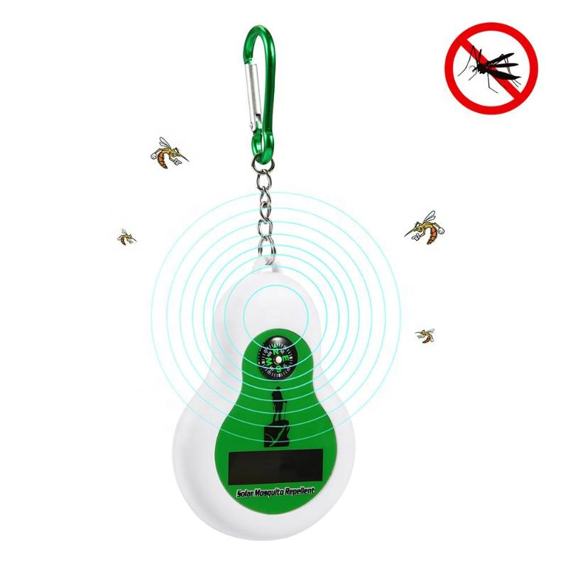 Portable Solar Ultrasonic Mosquito Insect Repeller Expeller Hook with Compass