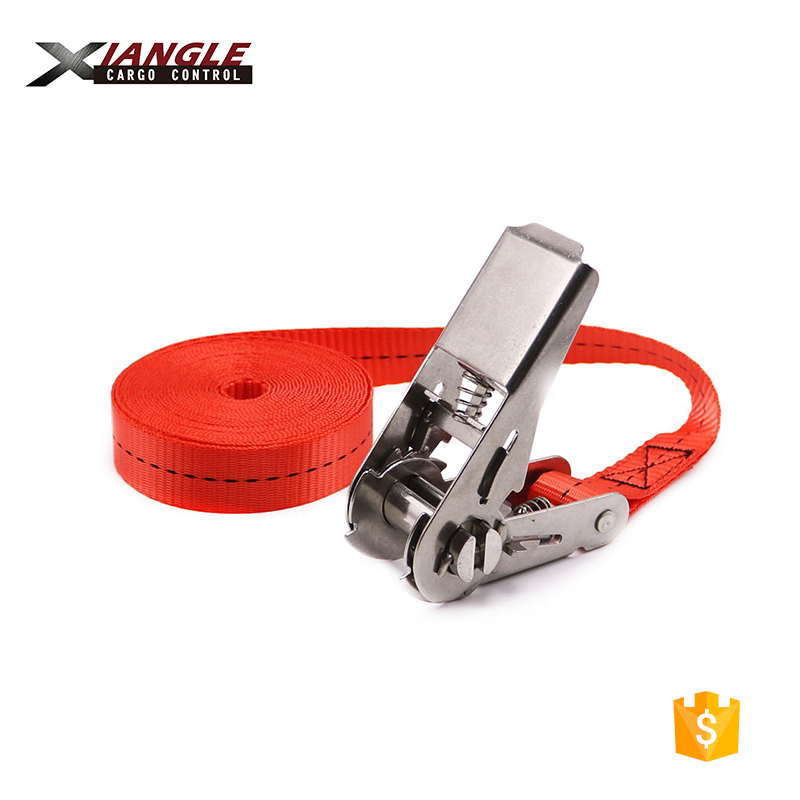 25mm heavy duty custom stainless steel retracting ratchet buckle straps with endless belts