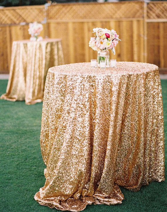 72in Round Gold Sequin Tablecloth Wholesale Wedding
