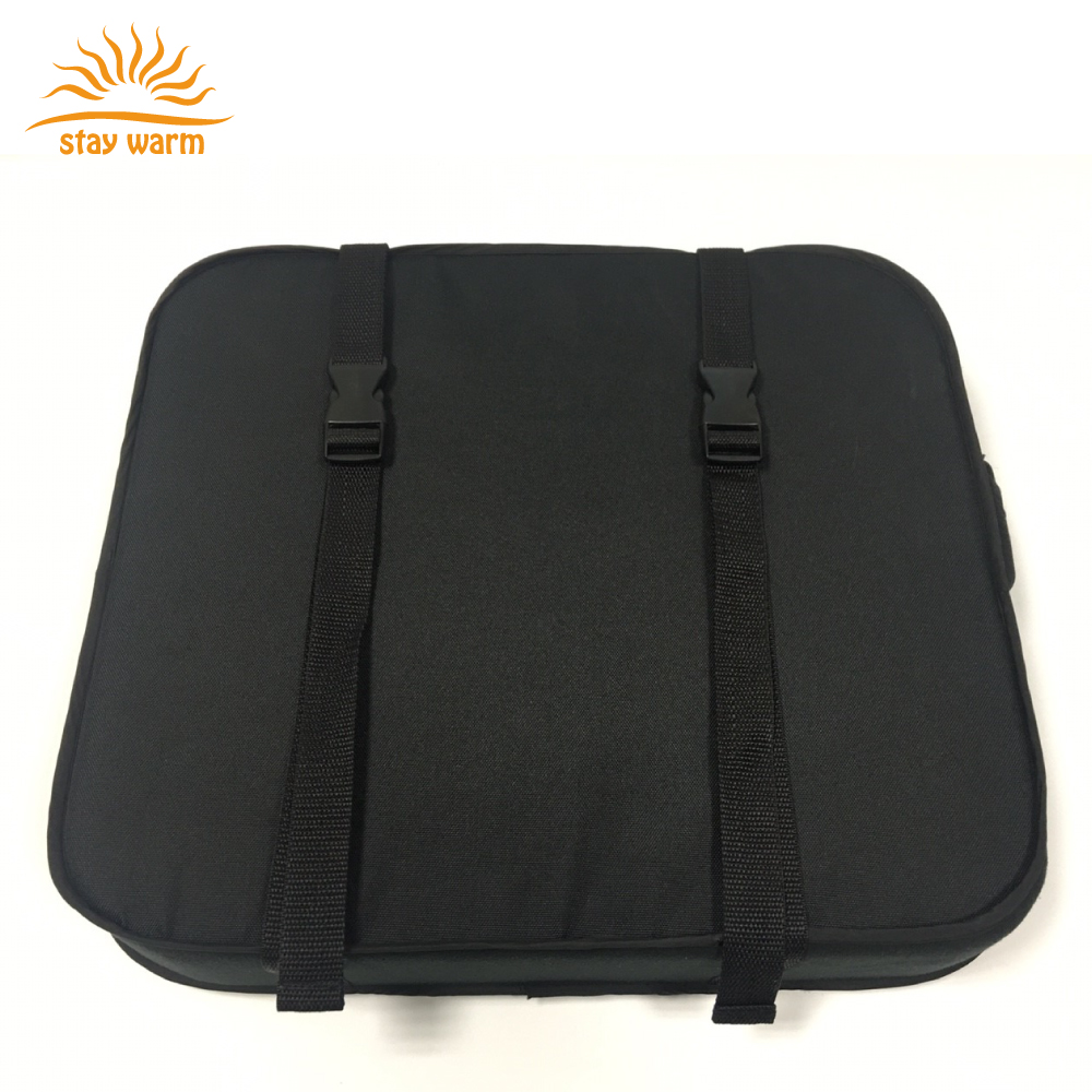 Rechargeable battery powered heated seat cushion for ourdoor