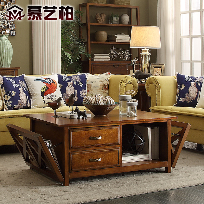 american country style wood coffee table multifunctional furniture living room tea with drawer. Black Bedroom Furniture Sets. Home Design Ideas