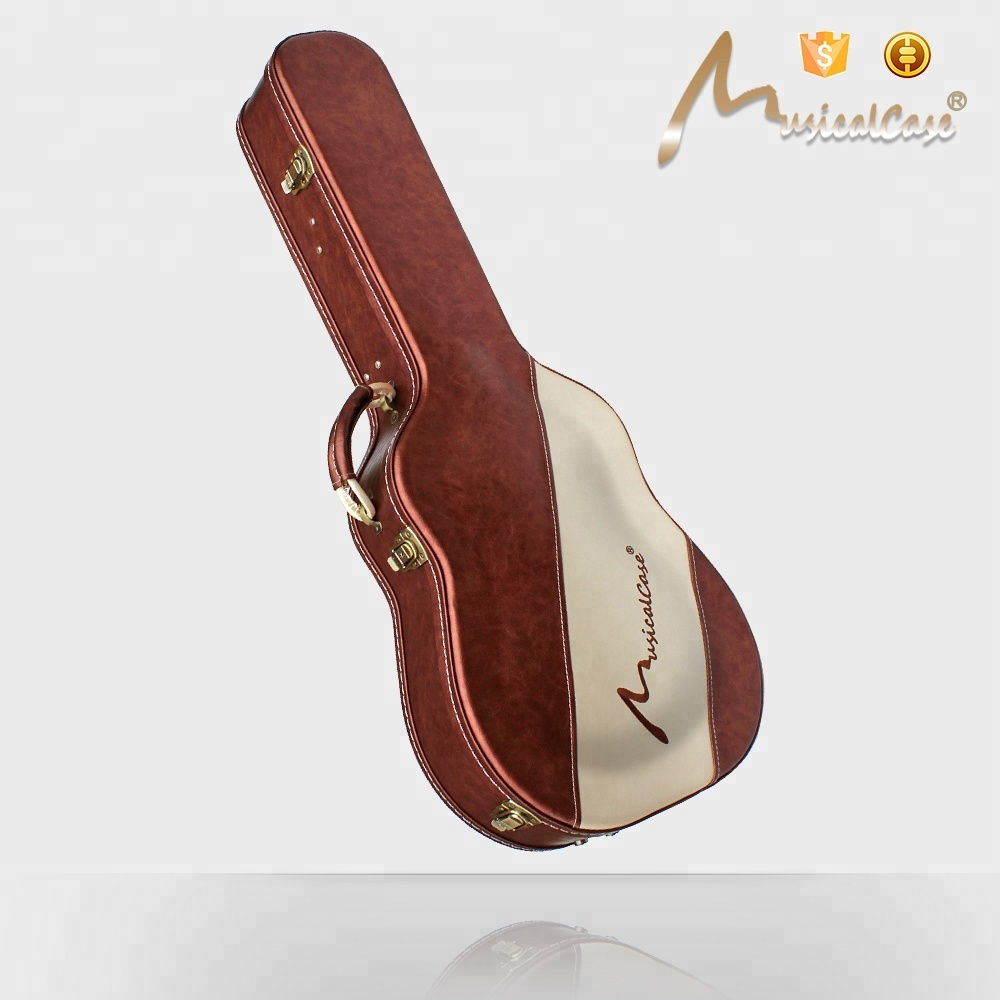 2018 New OEM Dark Brown Leather Shaped Classic Guitar Case