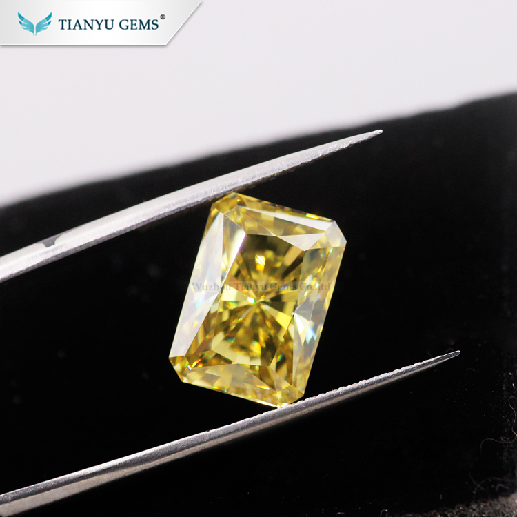 Tianyu Gem Lab Created Gemstone Radiant cut Natural Vivid Yellow Moissanite Diamond for Jewelry Making