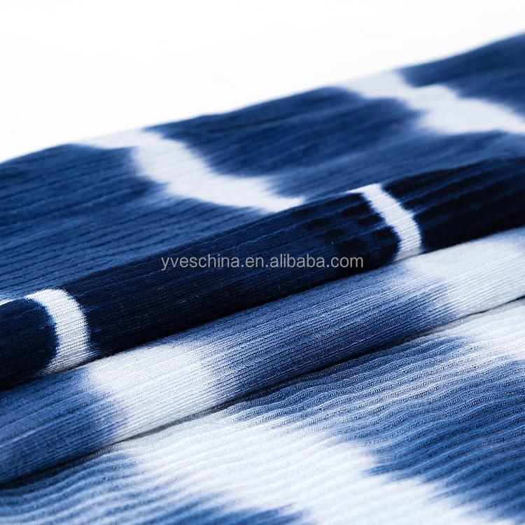 Soft multi colors customized 4*2 rib rayon spandex tie dye knit fabrics